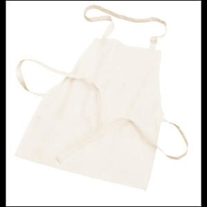 3 Pocket Work Apron. Poly Cotton 65/35 apron with adjustable neck tie and extra-long self-material waist ties. Three open divided pockets at bottom.