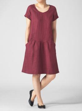 Linen Short Sleeve Calf-Length Dress
