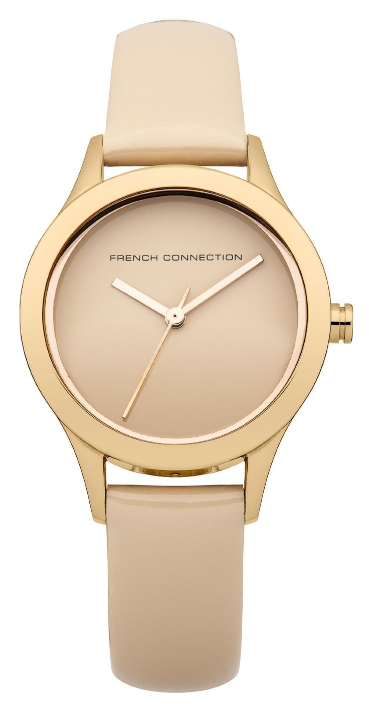 French Connection Women's 'Charlotte' Quartz Stainless Steel and Leather Casual Watch, Color:Beige (Model: FC1206RGA)