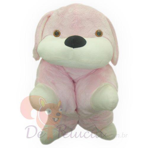 Almofada de pelúcia cachorro rosa