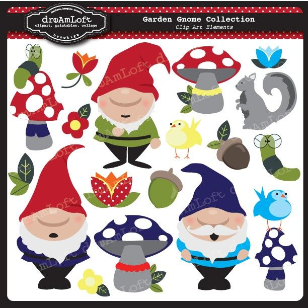 Garden Gnome Collection Clip Art by DreAmLoft  {EDL}