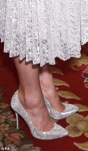 dailymail:   Close-up of the Duchess of Cambridge's Erdem 'Rhona' silver and white dress and Oscar de la Renta 'Cabrina' heels