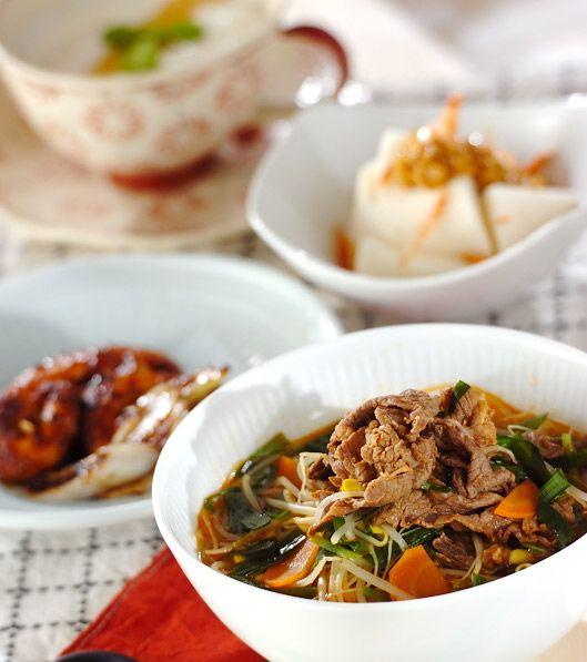 「クッパ風春雨スタミナスープ」の献立・レシピ - 【E・レシピ】料理のプロが作る簡単レシピ/2008.10.12公開の献立です。