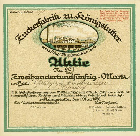 HWPH AG - Historische Wertpapiere - Zuckerfabrik zu Königslutter vorm. Aug. Rühland & Co. AG Königslutter, 01.05.1920, Gründeraktie über 250 Mark, #291