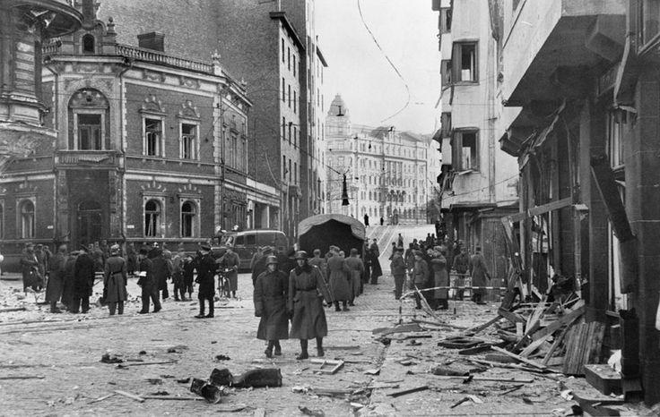 Bombing of Roobertinkatu (Robert Street) by Soviets on 8 November 1942 Helsinki