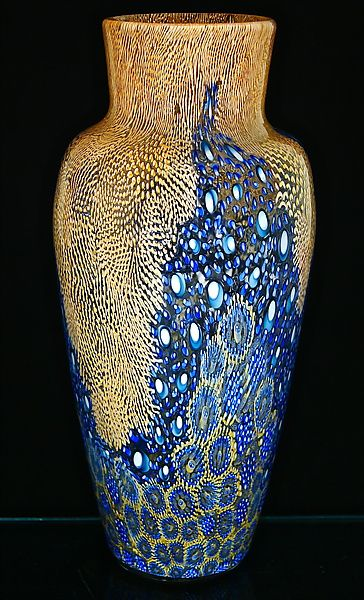 Tangerine Broadband Murrini Vase: Michael Egan: Art Glass Vase | Artful Home