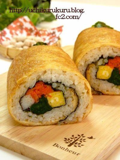 恵方巻のお弁当♪サランラップで簡単に作ろう!! ★信田巻き風 ...