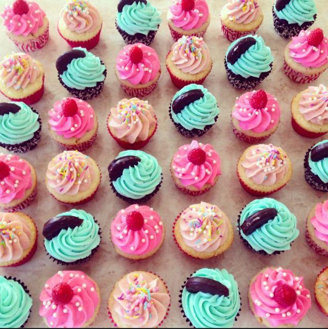 Vanilla cupcakes, white chocolate raspberry cupcakes, and mint chocolate cupcakes. See more cupcakes on my instagram account @ macpherson184