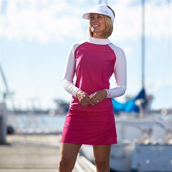 Sun Protective Long Sleeve Sun & Swim Shirt for Women - UPF 50+ shown with Women's Swim Skirt and Women's Sun Visor. Get 15% off now through 8/16/15 with coupon code SUMMER15 at checkout