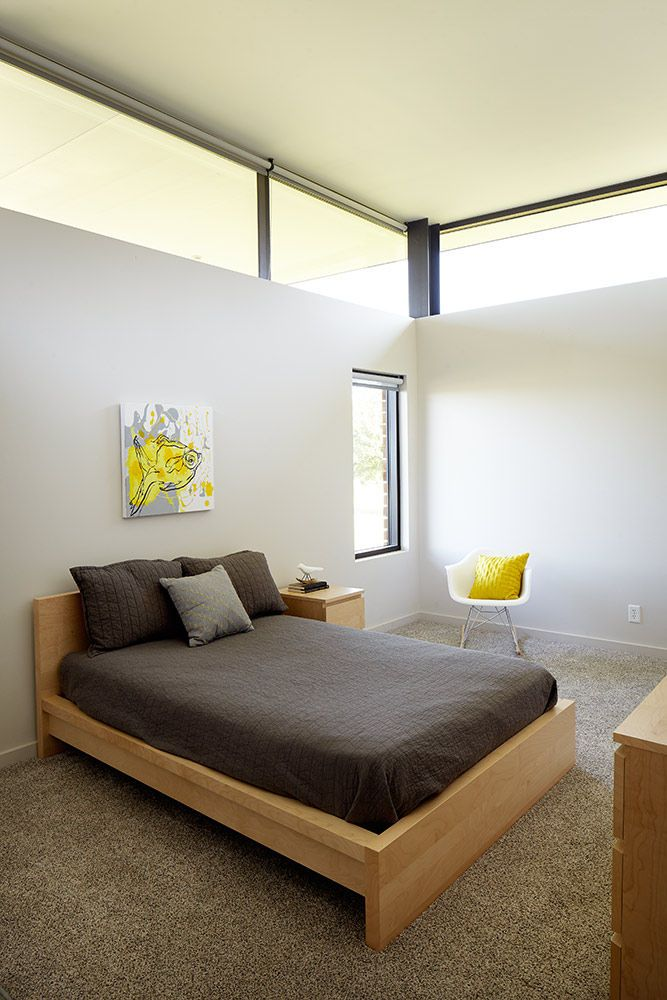 Modern bedroom in a Missouri prairie home