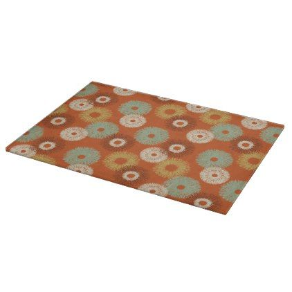 Retro Mid-Century Modern Starburst Orange Pattern Cutting Board - pattern sample design template diy cyo customize