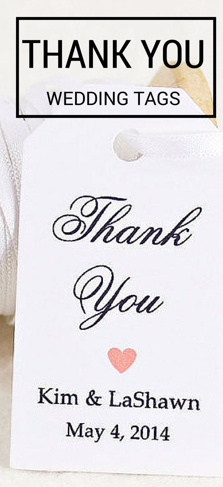 inspired by the love of two people whether it's a wedding or bridal shower, our custom Thank You tag is definitely a sophisticated look you'll want. but one needn't be a a big spender to pull it off: with a simple heart, it's a stylish font, and custom name you can add this to any thank you gift for event for a low cost. Order a set of 25 personalized tags online with I Do Tags at our Etsy shop https://www.etsy.com/shop/iDoTags