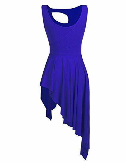 2d4205b611c6 Amazon.com: iiniim Lyrical Dance Costume Women High Low Dance Dress Crew  Neck Leotard Short Dress: Clothing