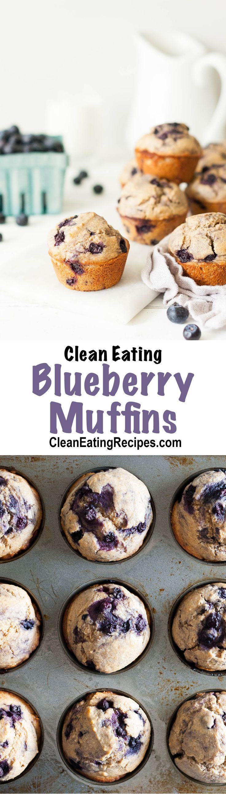 These Clean Eating blueberry muffins are made with whole wheat flour, oat flour and honey - so you can feel good eating them.