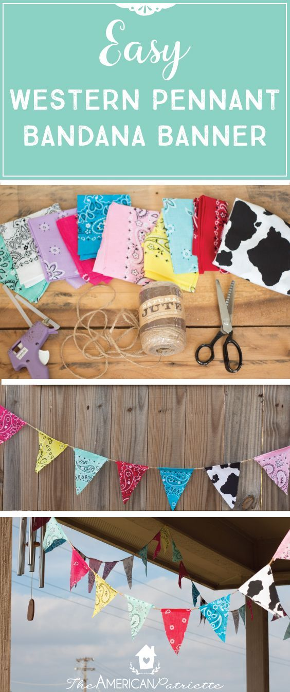 Easy Western Pennant Bandana Banner; Inexpensive party decor for a farm-themed, ranch-themed, or western-themed party; kids birthday party decor