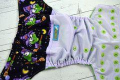 Warty Witch, Cotton (Lavender outer, two-toned snaps- Medium Purple caps/Apple pieces) Wrap Around, OS Pocket Diaper  #clothdiaper #ellabellabum #halloween www.ellabellabum.com