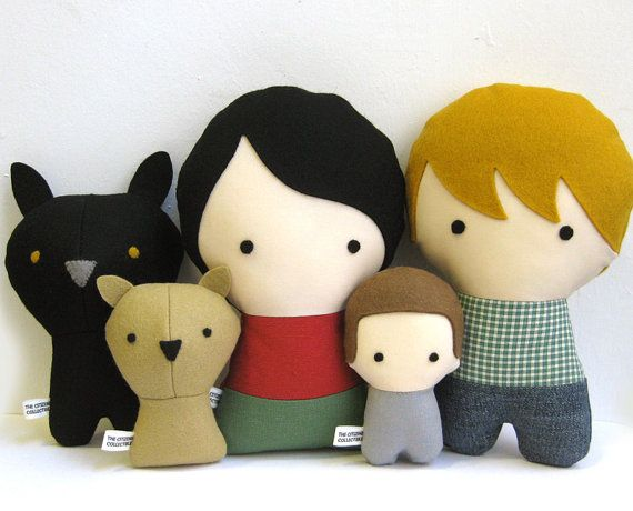 Personalized Family with Dogs Stuffed by citizenscollectible, $130.00