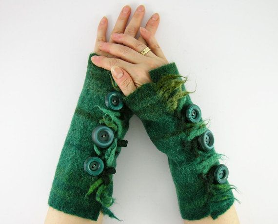 felted fingerless gloves wrists warmers eco friendly arm warmers fingerless mittens cuffs teal green recycled wool. And I love the buttons!