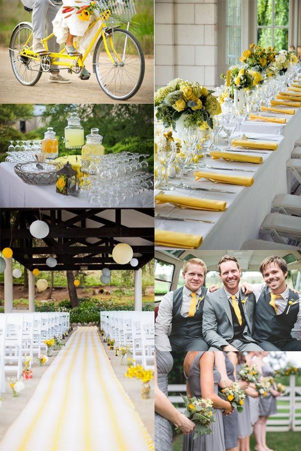 Gelb und Grau Hochzeit rustikal Hochzeitsdekoration Streifen Tischdeko ...