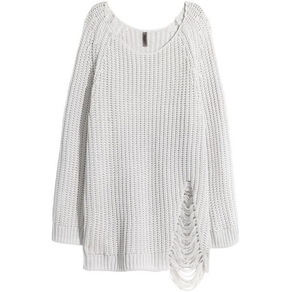H&M Rib-knit jumper (€29) ❤ liked on Polyvore featuring tops, sweaters, white grey, white long sleeve sweater, h&m sweaters, grey sweaters, h&m jumpers and grey jumper