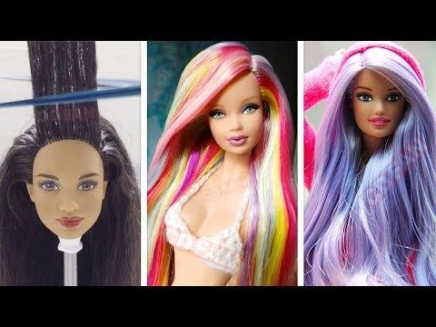 Barbie Hairstyle Tutorial Barbie Hair Color Transformation Easy
