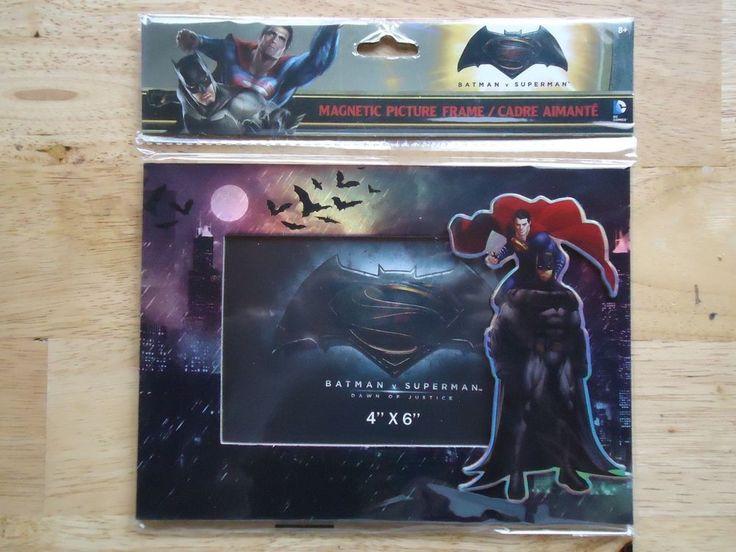 DC Comics Superman vs Batman Magnetic Picture Frame Fridge or Tabletop 4x6 Photo #DCComics