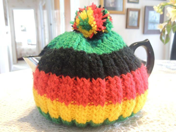 Mum's knitting -- Mum's Rastafarian knitted tea cosy -- New Zealand -- 22nd August 2013