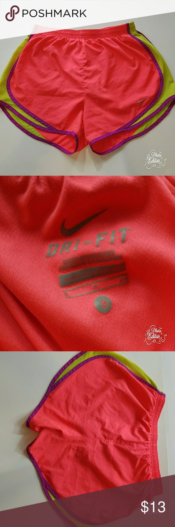 Nike dri-fit shorts size small Nike dri fit shorts size small. Bright orange, purple, & yellow. Nike Shorts