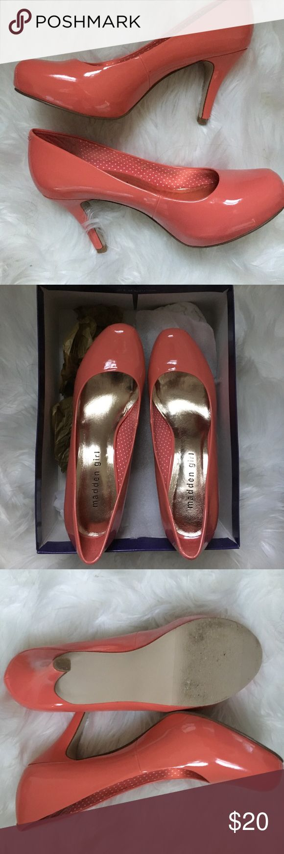 Perfect for spring!  Steve Madden Coral heels! Like new coral heels just in time for Spring!  Only worn for a few hours!  A little big for a 7.5 so didn't work for me. Steve Madden Shoes Heels
