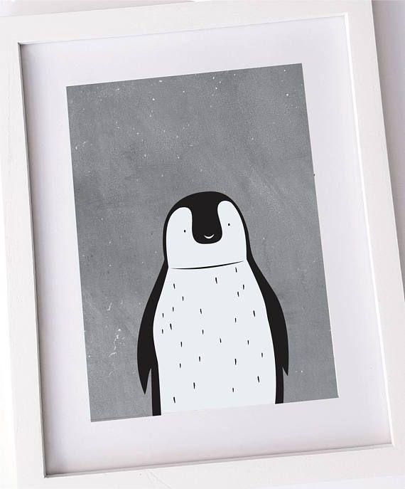 Cute penguin print Nursery art kids room decor Animal wall