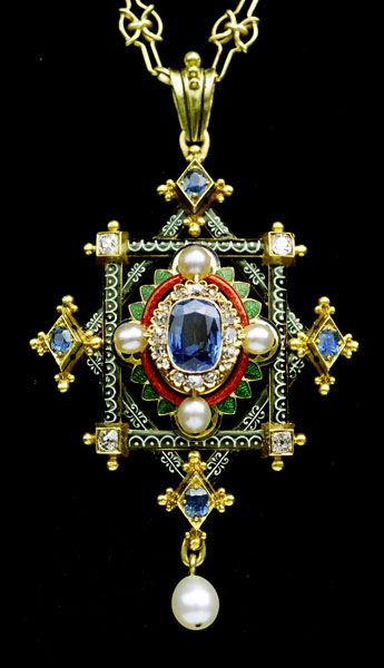 Pendant | Holbeinesque, in the manner of Robert Phillips.  Gold, enamel, sapphire, diamonds and pearls.  c. 1870, English.