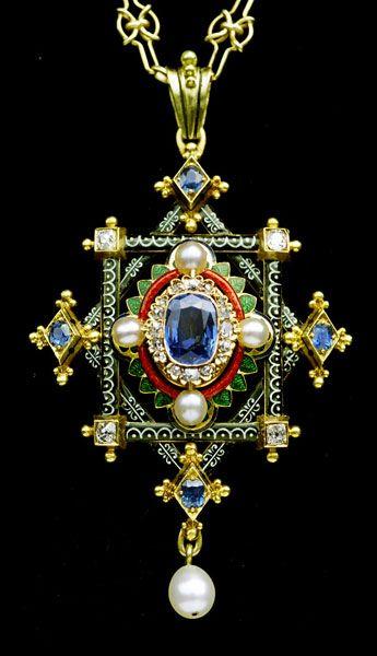 HIGH VICTORIAN  Fine Holbeinesque Pendant  Gold, enamel, sapphire, diamond & pearl  Length: 7.2cm  Width: 4.1cm  English. Circa 1870