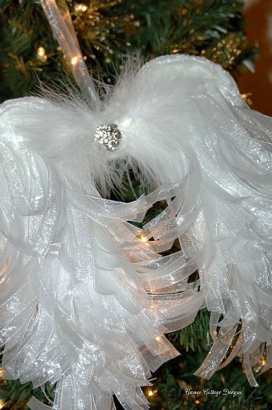 diy angelic organdy ribbon angel wings, christmas decorations, crafts, diy, seasonal holiday decor