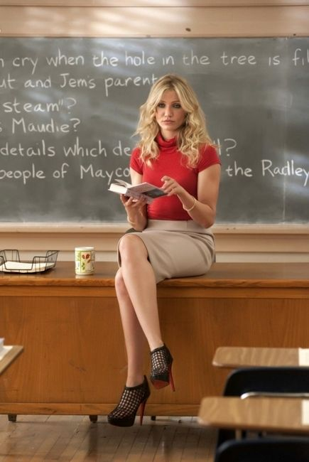 Cameron Diaz in Bad Teacher. Love this outfit especially the Christian Louboutin Coussin Caged Ankle Boots.