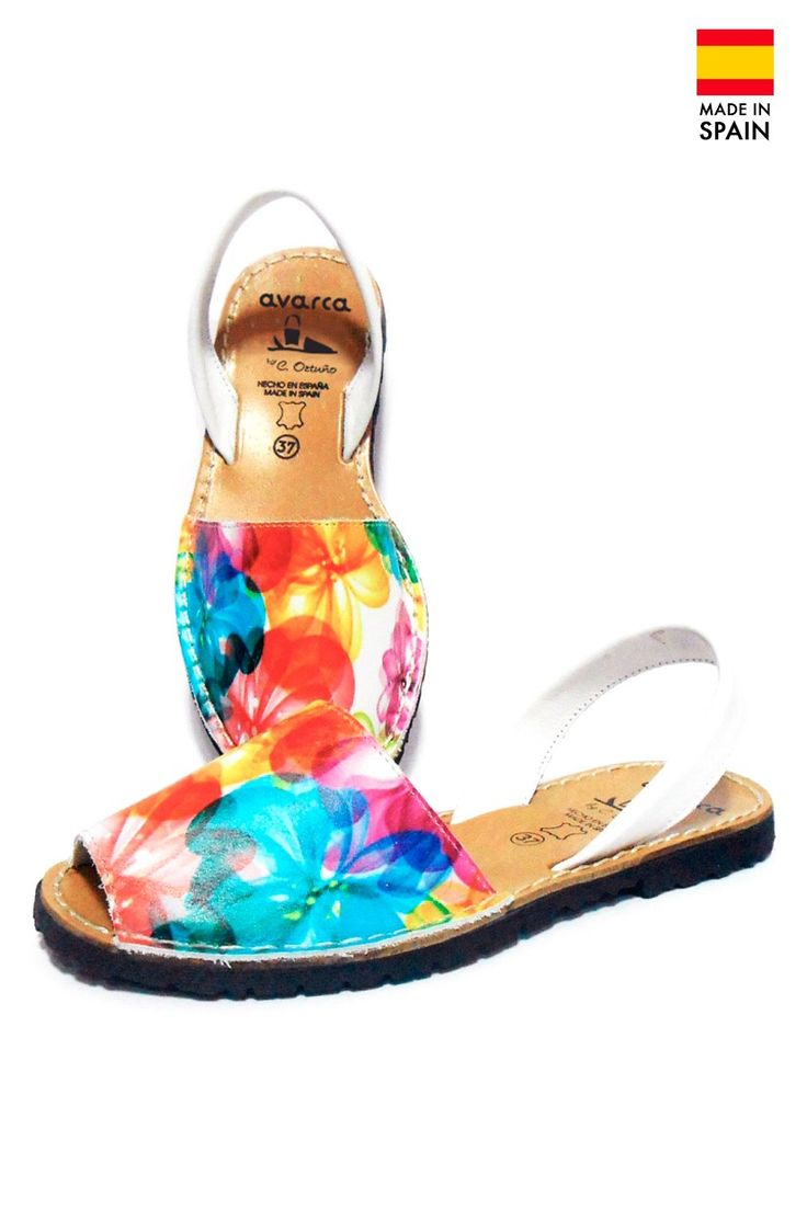 Sandale Avarca Menorquinas de dama din piele naturala, Flower