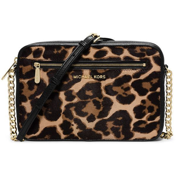 MICHAEL Michael Kors Jet Set Large Cheetah-Print Calf Hair Crossbody... (€175) ❤ liked on Polyvore featuring bags, handbags, shoulder bags, cheetah natural, black crossbody, black crossbody purse, chain crossbody purse, crossbody handbags and black cross body purse
