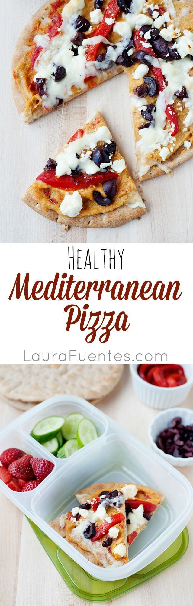 Mediterranean Hummus Pizza: Healthy and delicious pizzas made with hummus and all your favorite toppings. #easylunchboxes #pizza #lunch #lunchbox #lunchideas