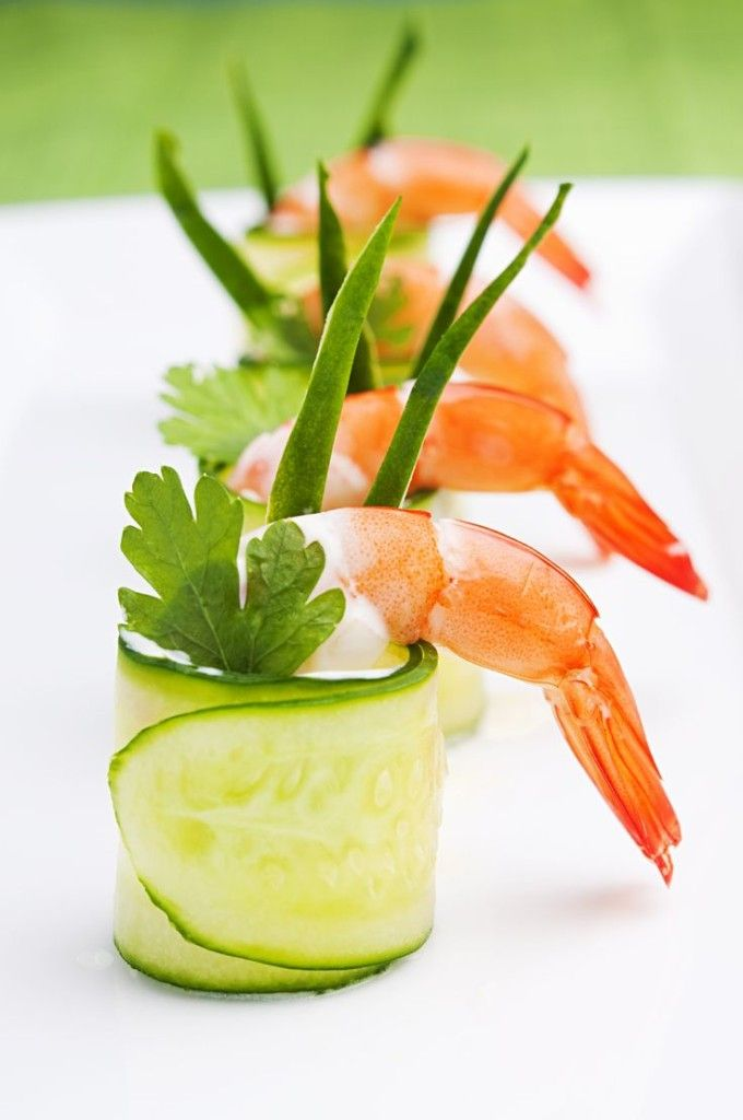 Creative presentation of an appetizer h'or d'oeuvres, cucumber and shrimp