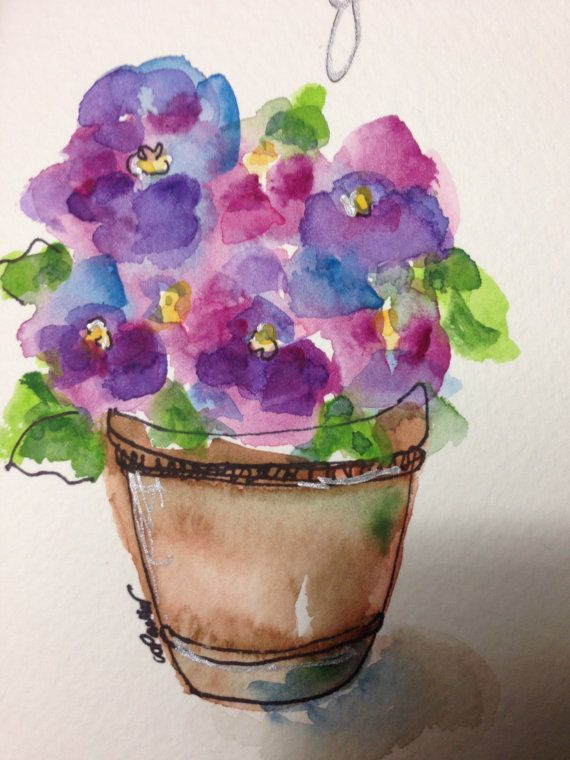 Thank You Watercolor Card by gardenblooms on Etsy