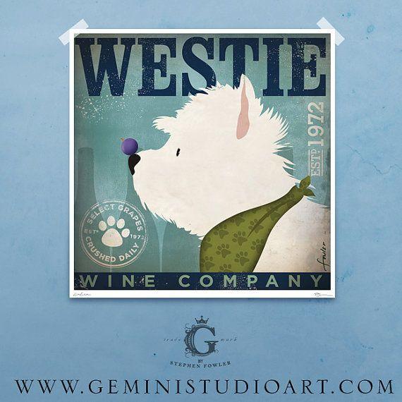 Westie Wine company dog artwork West Highland terrier illustration print  by Stephen Fowler
