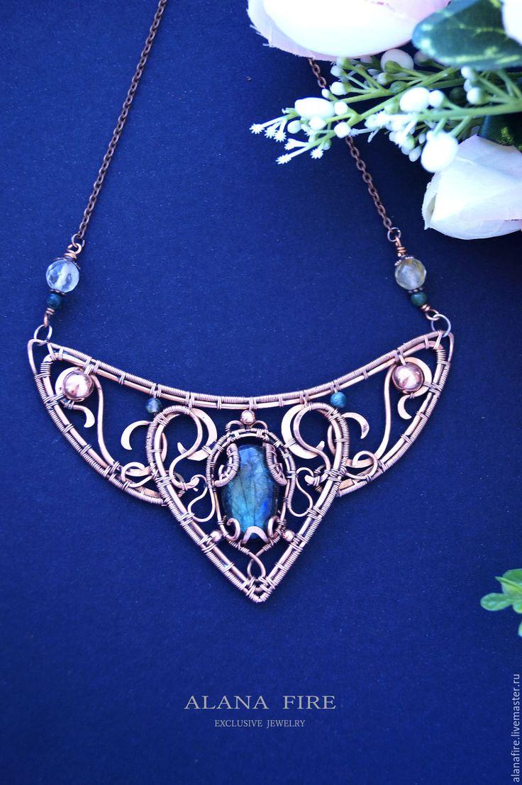 """Copper wire wrapped necklace / Купить Колье """"Milena"""" - голубой, колье ручной работы, колье с камнями, колье"""
