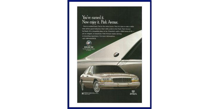 "BUICK PARK AVENUE Automobile Original 1996 Vintage Print Ad - Champagne 4-Door Car ""You've Earned It. Now Enjoy It. Park Avenue."" by VintageAdOrama on Etsy"