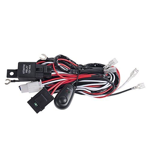 LED Wiring Harness, Offroad Town Off Road LED Fog Work Light Bar Wiring Harness Kit Car Wire 12V 40A Fuse Relay ON-OFF Waterproof Toggle Switch (2 Lead):   <b>Offroad Town LED Light Bar Wiring Harness aims to simple and tidy your vehicle, our Light Bar Wiring Harness is a perfect accessory for Off Road, Jeep, UTV, SUV, Boat etc.<br><br>Feature </b><br> Can wire two lights meanwhile, very convenient to save space and very tidy. <br> DC12V 40A rated automotive relay<br> Blade Fuse for mu...