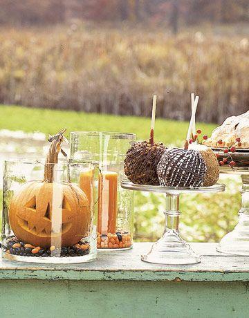 : Fall Decor, Decorating Ideas, Pumpkins, Glass, Fall Halloween, Holidays, Halloween Ideas, Halloween Party, Party Ideas