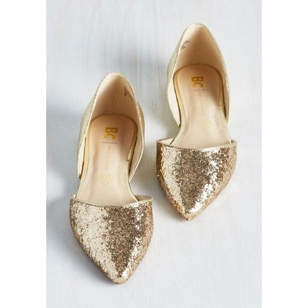 BC Footwear Luxe Miss Fancy Prance Flat ($65) ❤ liked on Polyvore featuring shoes, flats, gold, fancy flats, pointed toe flats, dressy flat shoes, d'orsay shoes and fancy shoes