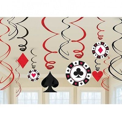 12 Casino Theme Swirls & Cutout Hanging Birthday Party Decorations Black Red