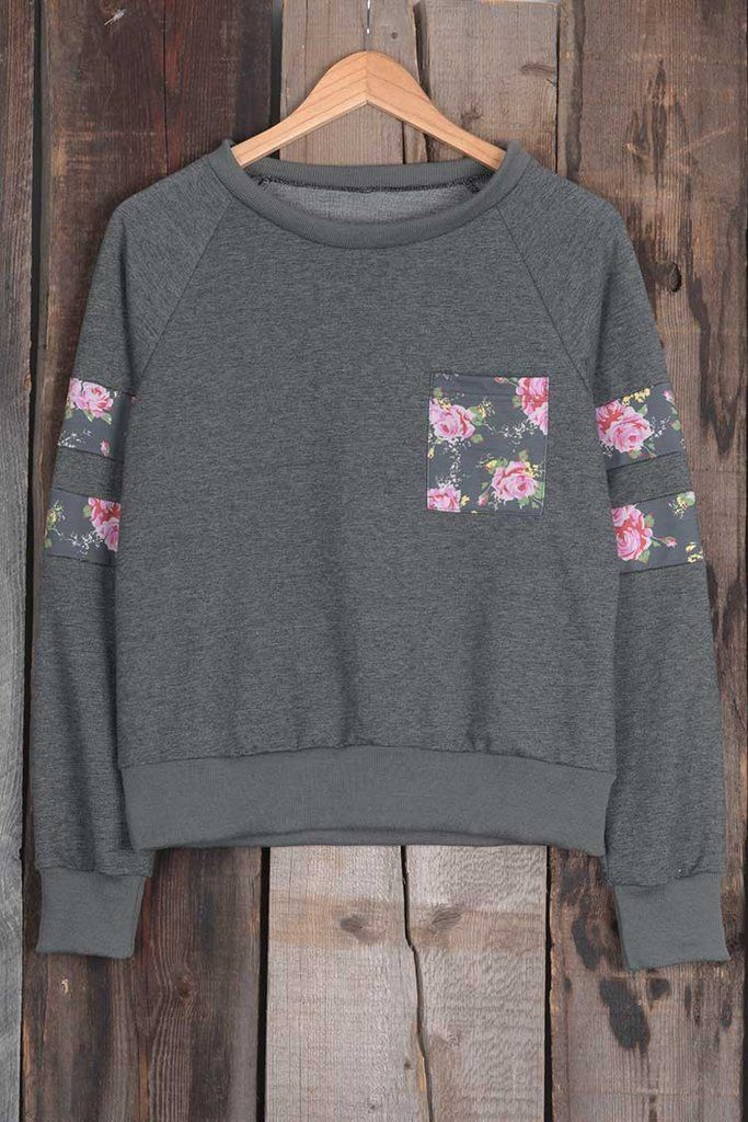 Cupshe Blossom Type Of Way Floral Basic Sweatshirt