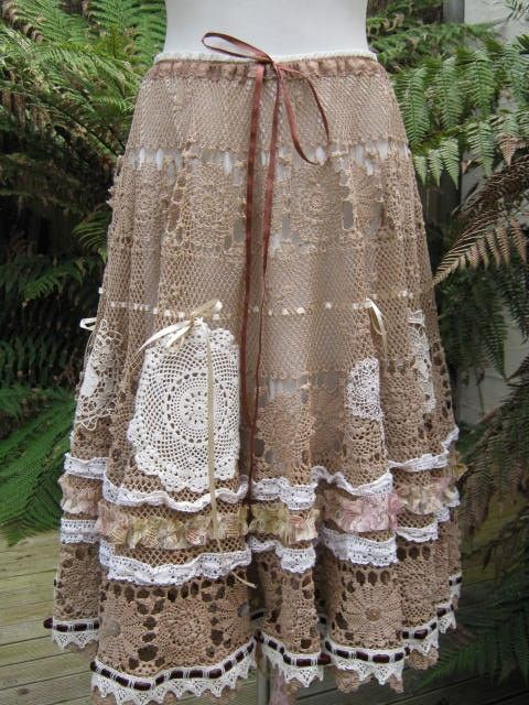 Vintage Kitty.. coffee crochet.. romantic full circle skirt.. shabby chic, hand dyed, lace, roses.. SML - MED - LGE. $225.00, via Etsy.