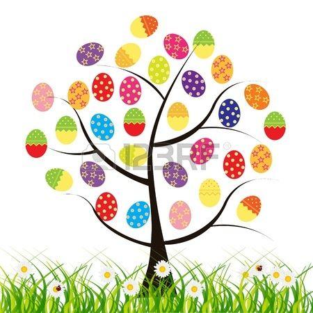 vector Pasen boom met eieren Stockfoto