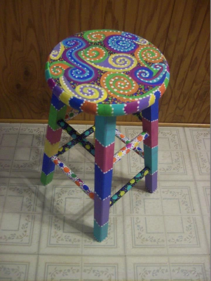 Fun-Colorful Hand Painted Wooden Stool.